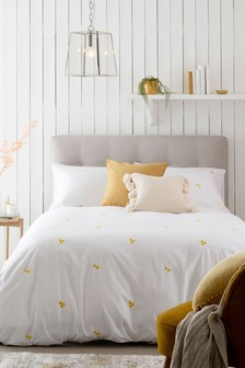 Yellow Embroidered Flowers Duvet Cover and Pillowcase Set