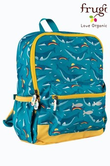 Frugi Blue Recycled Rainbow Whale Print Backpack
