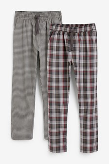 Lightweight Check Pyjama Bottoms Two Pack