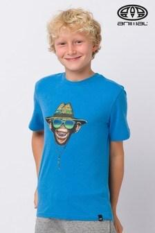 Animal lockeres T-Shirt mit Grafik, Blau meliert