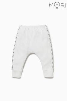 מכנסי יוגה לבנים עם פסיםשלMORI