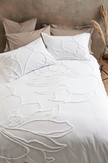 100% Cotton Tufted Floral Duvet Cover And Pillowcase Set