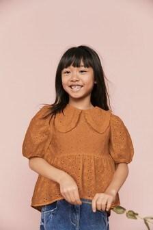 Хлопковая блузка с воротником и вышивкой ришелье (3-16 лет)