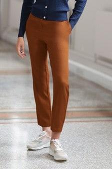 Elastic Back Slim Trousers