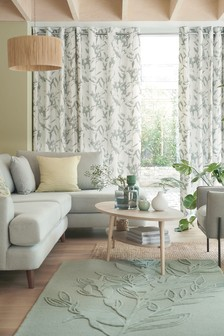 Shadow Leaf Print Eyelet Curtains