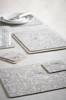 4 Granite Print Placemats And Coasters Set