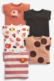 Набор из 5 футболок из органического хлопка (3 мес.-7 лет)