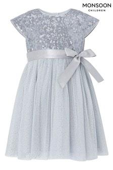 Monsoon Baby Paige Blue Dress