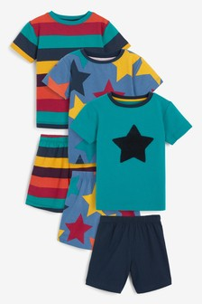 3 Pack Star Short Pyjamas (9 luni - 8 ani)