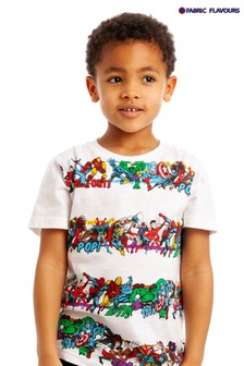 Fabric Flavours Marvel® Gestreiftes T-Shirt mit Charakteren, Weiß