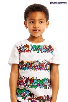 Tricou cu dungi și personaj Fabric Flavours Marvel® alb