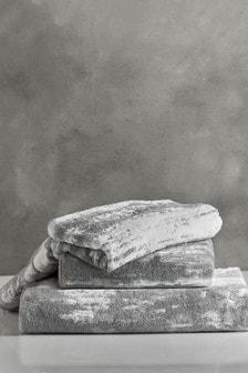 Серые меланжевые полотенца из египетского хлопка с эффектом омбре