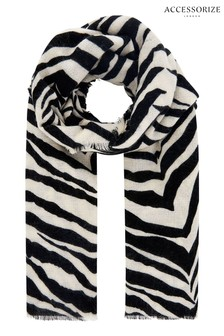 Accessorize Black Attie Zebra Blanket