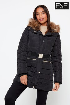 F&F Black Long Padded Belted Coat