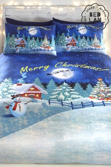Glow in the Dark Christmas Duvet Cover and Pillowcase Set by Bedlam