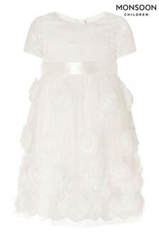 Monsoon白色嬰兒裝蕾絲和3D玫瑰花受洗禮服