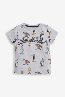 Grey Short Sleeve Looney Tunes® Print T-Shirt (3mths-8yrs)