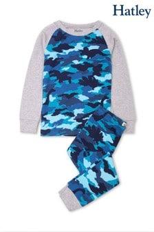 Пижамный комплект из органического хлопка с синим камуфляжным принтом с динозаврами Hatley