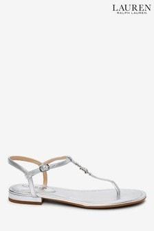 Ralph Lauren Metallic Diamanté Logo Elmstead Flat Sandals