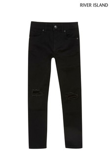 River Island Black Danny Super Skinny Ripped Knee Jeans