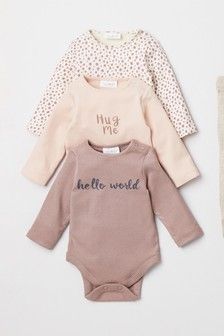 3 Pack Slogan Bodysuits (0mths-2yrs)