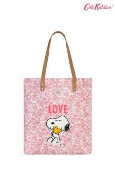 Cabas simple Cath Kidston® Snoopy Love Paper imprimé liberty avec poignée en cuir