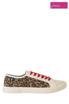 Pantofi din pânză cu șireturi și imprimeu leopard Joules
