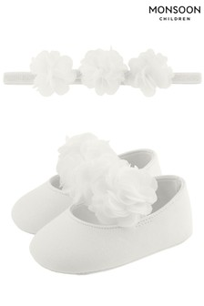 Monsoon Natural Baby Macaroon Corsage Bando And Bootie Set