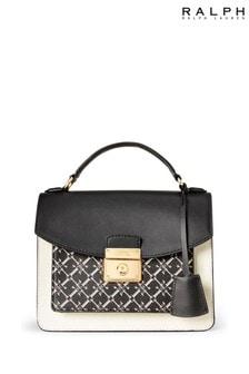 Ralph Lauren White Black Leather Heritage Shoulder Bag