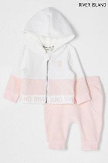River Island Pink Light Pink Zip Through Velour Set