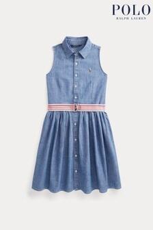 Ralph Lauren Ärmelloses Denim-Kleid mit Logo, Blau