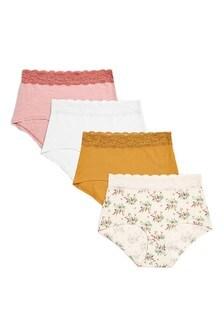 Lace Trim Cotton Blend Knickers Four Pack