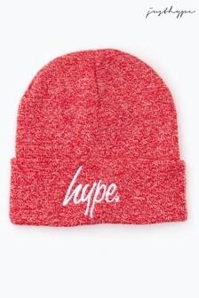 Hype. ヘザーレッド スクリプト ビーニー帽