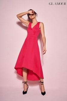 שמלה באורכים שונים בגזרה מתרחבת דגם Glamour בצבע אדום דובדבן