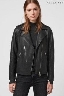 Черная кожаная куртка в байкерском стиле AllSaints Elva