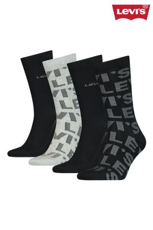 Levi's® Logo All-Over Print Unisex Regular Cut Socks Gift Box (4 pack)