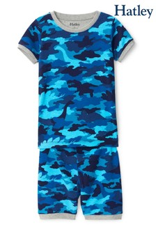 Hatley Blue Dino Camo Organic Cotton Short Pyjama Set