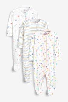 Pack de3 pijamas tipo pelele con rayas, estrellas y lunares (0 meses-2 años)