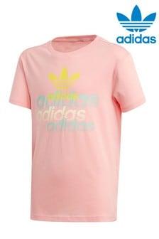 Ružové tričko s potlačou adidas Originals