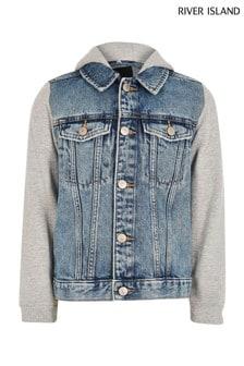 River Island Blue Hooded Denim Jacket