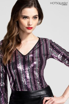 HotSquash V-Neck Sequin Party Top