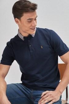 Checked Woven Collar Regular Fit Polo