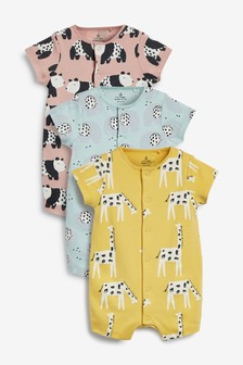 3 Pack Mono Character Rompers (0mths-3yrs)
