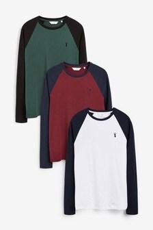 Набор из трех футболок зауженного кроя с рукавами реглан
