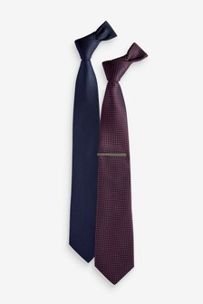 Tie With Tie Clip Two Pack