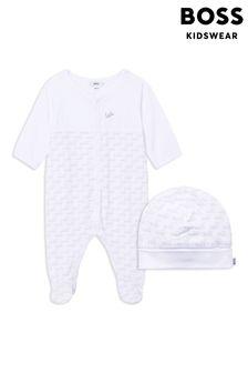 BOSS White Logo Sleepsuit And Hat Gift Set