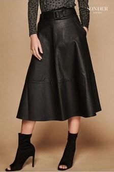 Sonder Studio Black Seam Detail PU Midi Skirt
