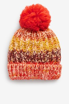 Knitted Stripe Pom Hat