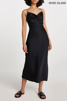 River Island Black Cowl Neck Midi Dress With Trim