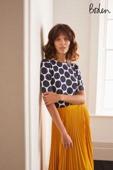 חולצת טי סרוגה מכותנה דגם Abingdon בכחולשל Boden